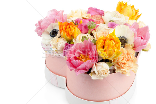 Flower bouquet in a heart shaped box isolated on white Stock photo © Escander81