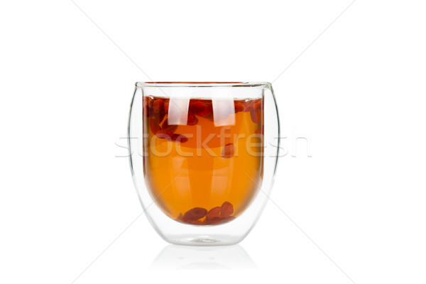 Cup of delicious hot goji berry potion on white Stock photo © Escander81