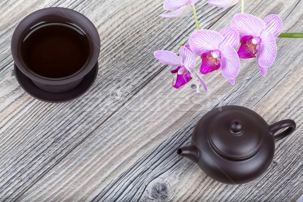 китайский керамической чай набор деревянный стол церемония Сток-фото © Escander81