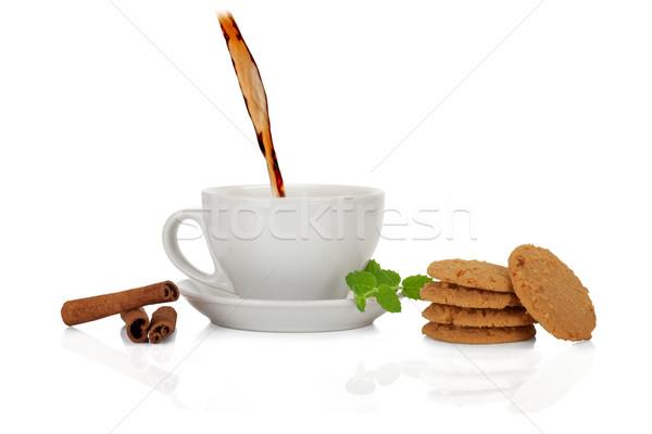 Thee collectie keramische beker cookie kaneel Stockfoto © Escander81