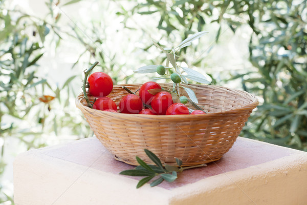 Panier rouge tomates olivier branche alimentaire Photo stock © Escander81