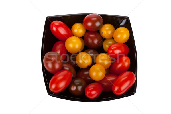 помидоры черри черный пластина изолированный белый лист Сток-фото © Escander81