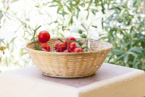 Friss paradicsomok olajfa természetes étel levél Stock fotó © Escander81