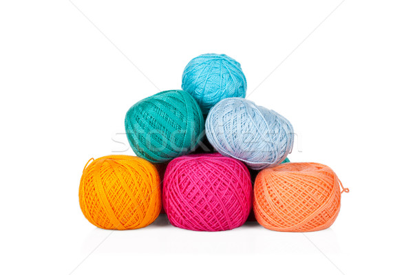 Multicolored set of yarn for knitting on white Stock photo © Escander81
