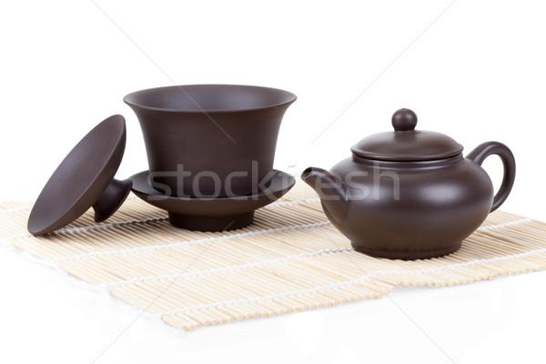 китайский керамической чай набор бамбук изолированный Сток-фото © Escander81
