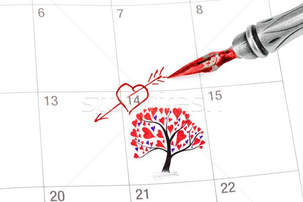 Stockfoto: Punt · uit · valentijnsdag · kalender · geïsoleerd · witte