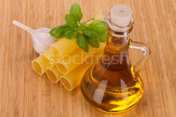 оливкового масла стекла бутылку свежие базилик чеснока Сток-фото © Escander81