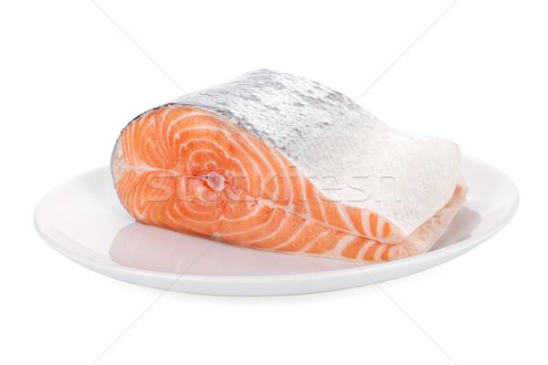 сырой стейк лосося белый пластина изолированный Сток-фото © Escander81