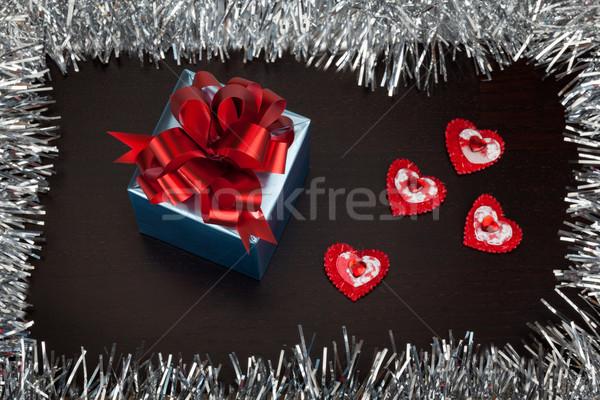 Валентин шкатулке небольшой сердцах деревянный стол бумаги Сток-фото © Escander81