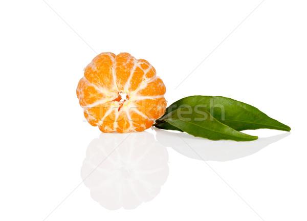 Fresh mandarine tangerine with leaves on white Stock photo © Escander81