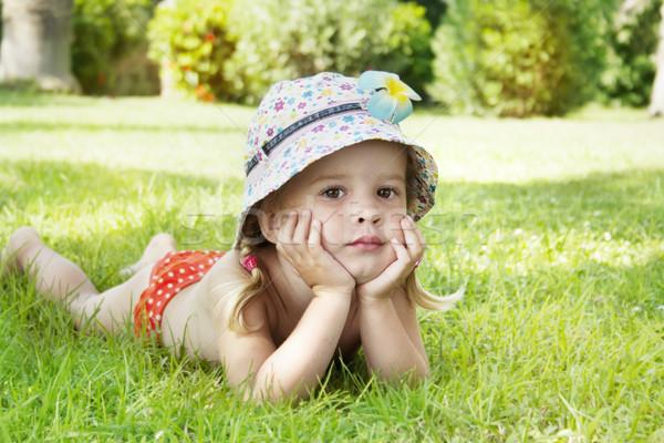 девочку зеленая трава лет девушки улыбка Сток-фото © Escander81