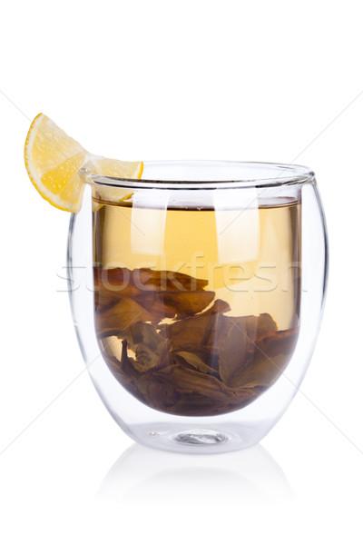 Кубок горячей зеленый чай лимона чай листьев Сток-фото © Escander81