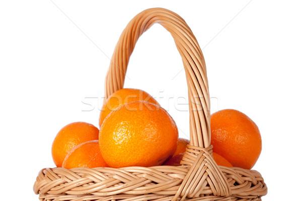 Basket of fresh oranges, mandarines or tangerines isolated on wh Stock photo © Escander81
