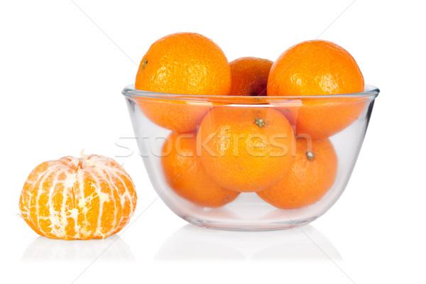 Fresh mandarines and peeled mandarine isolated on white backgrou Stock photo © Escander81