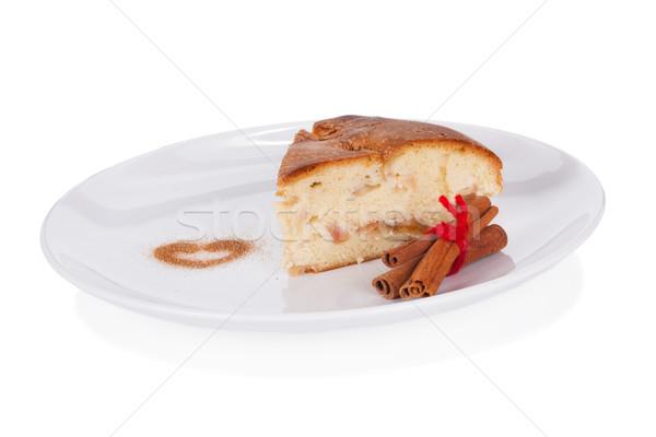 яблочный пирог корицей белый пластина изолированный яблоко Сток-фото © Escander81