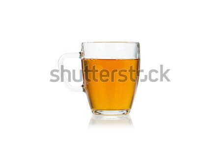 Glass cup of hot green tea on white Stock photo © Escander81