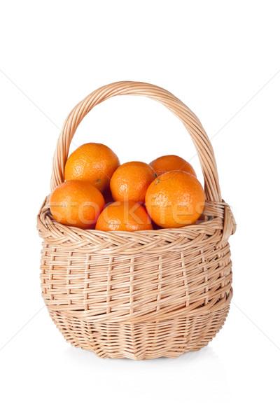 корзины свежие апельсинов изолированный белый фрукты Сток-фото © Escander81