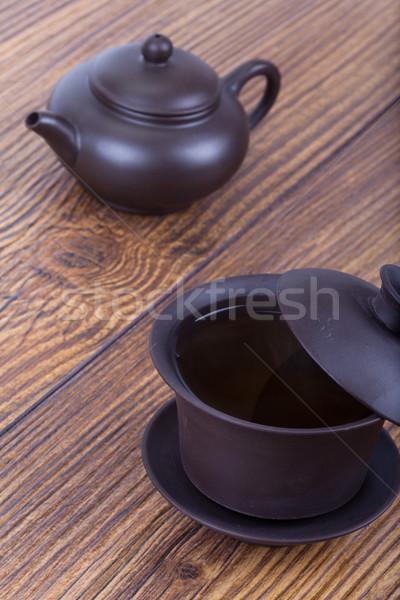 Siyah çay seramik çay fincanı Asya geleneksel Stok fotoğraf © Escander81