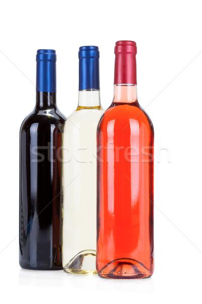 Three wine bottles on white Stock photo © Escander81