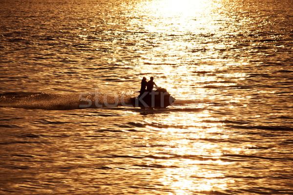 силуэта люди закат морем женщину человека Сток-фото © Escander81