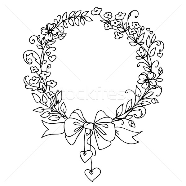 Floral vintage hand drawn vector wreath. Ink doodle design isolated on white for wedding, birthday,  Stock photo © ESSL