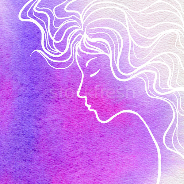 Elegance girl face and water color background Stock photo © ESSL