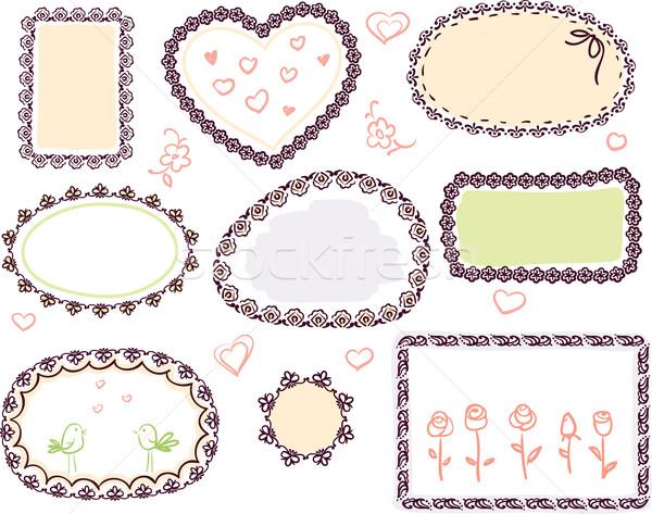 cute doodle floral vector frame set  Stock photo © ESSL