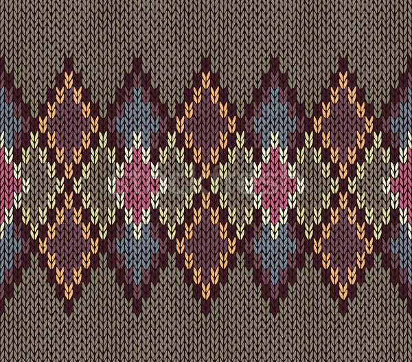 Seamless Pattern. Knit Woolen Trendy Ornament Texture. Fabric Color Tracery Background Stock photo © ESSL