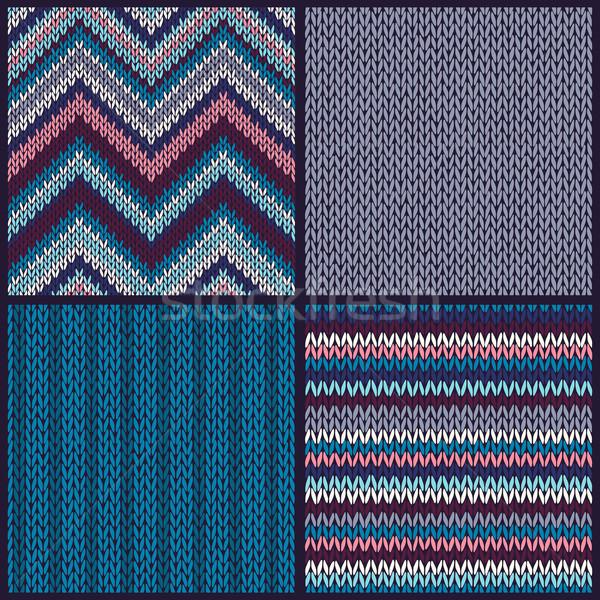 Stock photo: Seamless Knitted Pattern. Set
