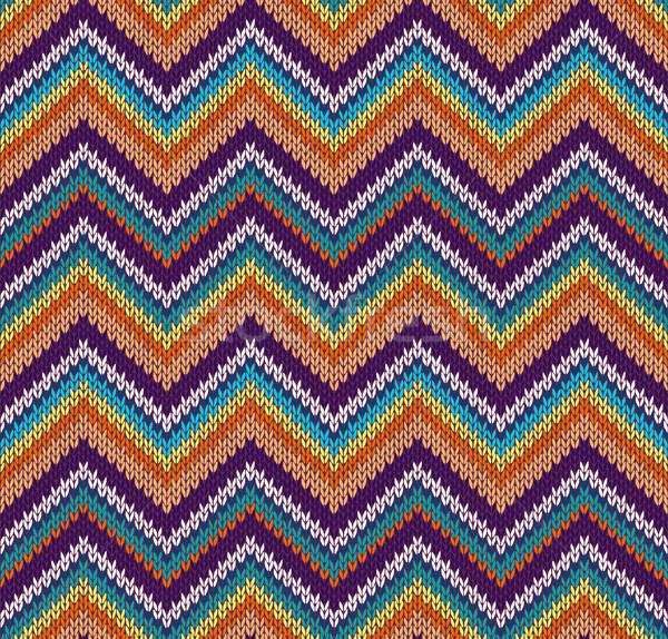 Stile senza soluzione di continuità maglia pattern blu tessuto Foto d'archivio © ESSL