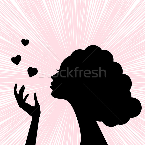 beautiful woman face silhouette with heart kiss Stock photo © ESSL