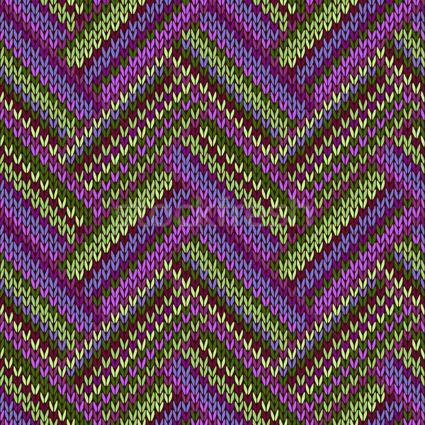 Multicolored Seamless Spring Knitted Pattern. Green Lilac Color Stock photo © ESSL