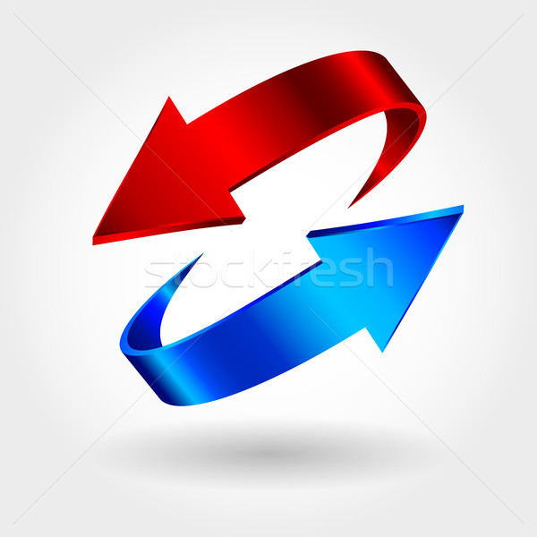 Red and blue arrows are moving towards. Arrows sign  Stock photo © ESSL
