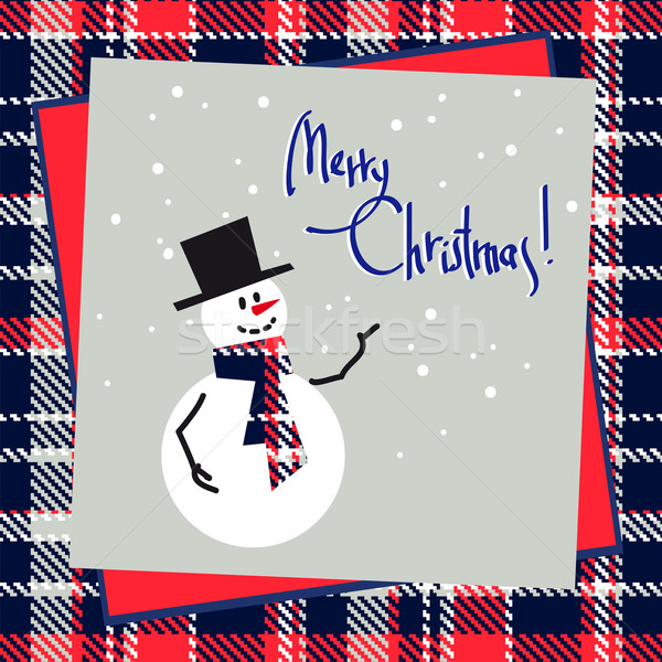 Stock photo: Christmas Background with Happy Snowman