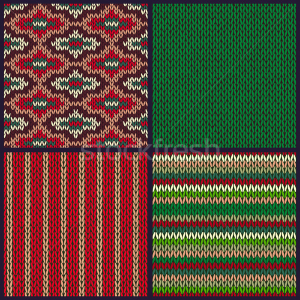 Stock photo: Seamless Knitted Pattern. Set of Christmas Samples. Collection