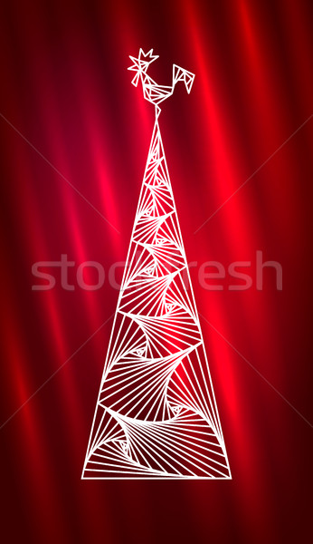 Christmas tree and rooster. Abstract new year design Stock photo © ESSL