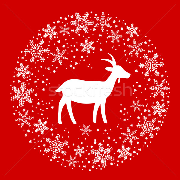 Winter Christmas Round Wreath with Snowflakes and Goat. Red and  Stock photo © ESSL