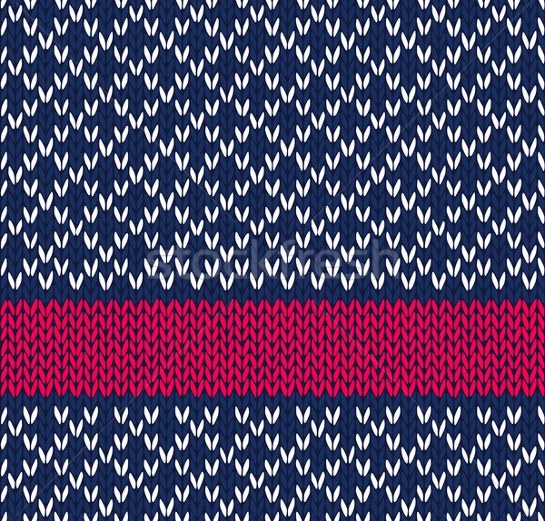 Style Seamless Blue White Red Color Knitted Vector Pattern Stock photo © ESSL