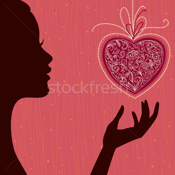 Saint valentin carte vecteur fille coeur main Photo stock © ESSL