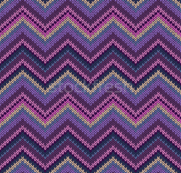 Stock photo: Pink Blue Violet Yellow Knit Texture, Beautiful Knitted Fabric P