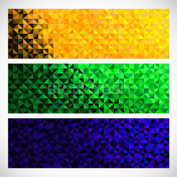 Vector Geometric Banner. Brazil flag Color Background. Abstract  Stock photo © ESSL