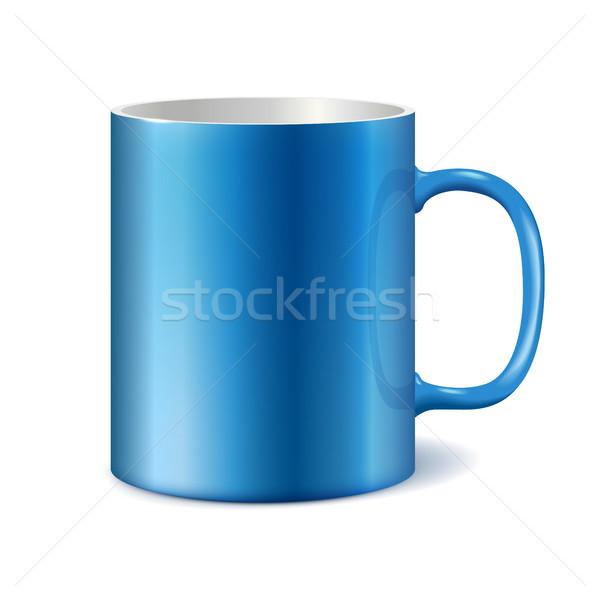 Azul branco cerâmico caneca impressão corporativo Foto stock © ESSL