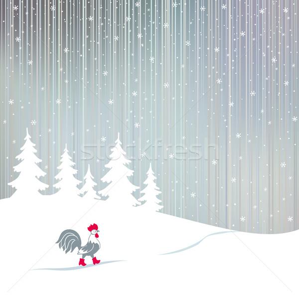 Coq marche hiver forêt coq Photo stock © ESSL