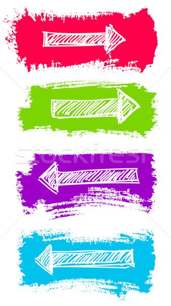 Frecce grunge colore pennello vettore set Foto d'archivio © ESSL