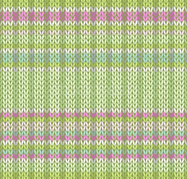 Stock photo: Seamless Pattern. Knit Texture. Fabric Color Tracery Background