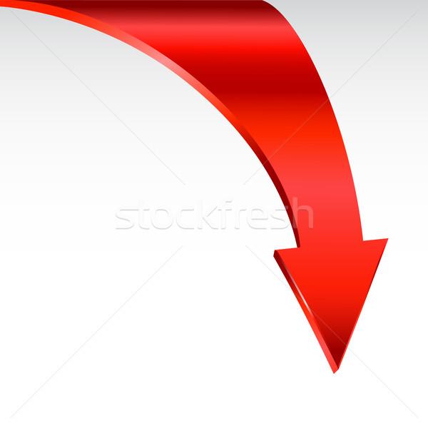 Czerwony arrow neutralny biały w dół świetle Zdjęcia stock © ESSL