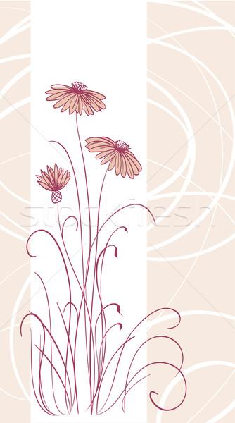 Resumen vector rosa flores líneas cubrir Foto stock © ESSL
