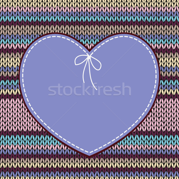 Karte Herzform Design gestrickt Muster Stock foto © ESSL