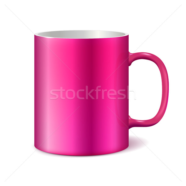 Rózsaszín csésze izolált fehér bögre branding Stock fotó © ESSL