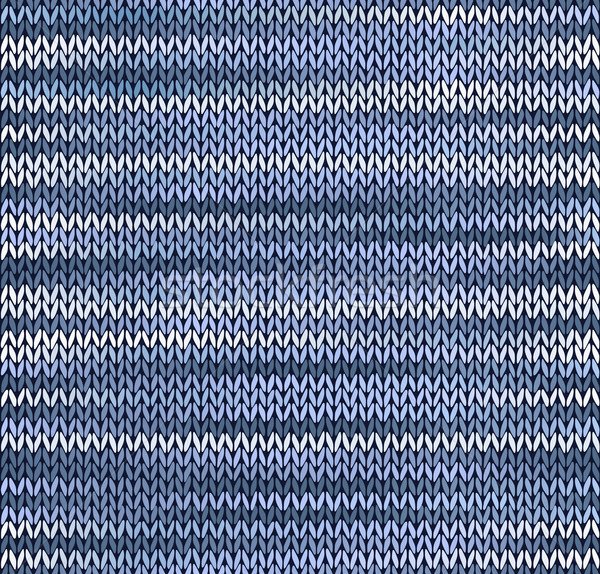 Style Seamless Knitted Pattern. Blue Silver White Color Illustra Stock photo © ESSL